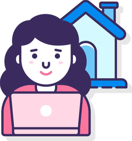 Line vector icon illustration of a freelancer woman with laptop working from home