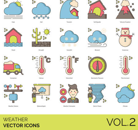 Line icons of weather forecast, natural disaster, thermometer, meteorologist, climate Ilustração