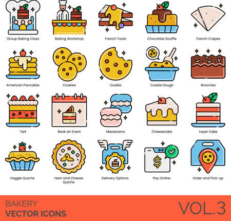 Line icons of bakery and pastry business, cookies, cake, pay online 矢量图像