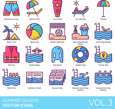 Line icons of summer season and vacation, beach activities, outdoor equipment, swimming lesson