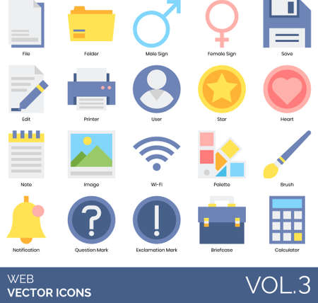 Flat icons of web buttons and signs, user avatar, navigation, menu, browser UI, elements Ilustração
