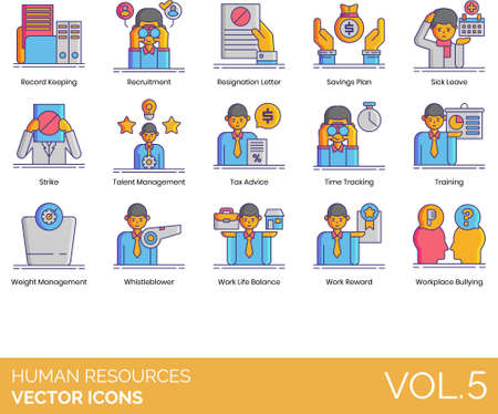 Line icons of human resources management, resignation letter, sick leave, whistleblower, workplace bullying