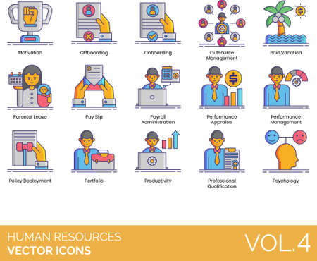 Line icons of human resources management, onboarding, parental leave, payslip, policy deployment, portfolio