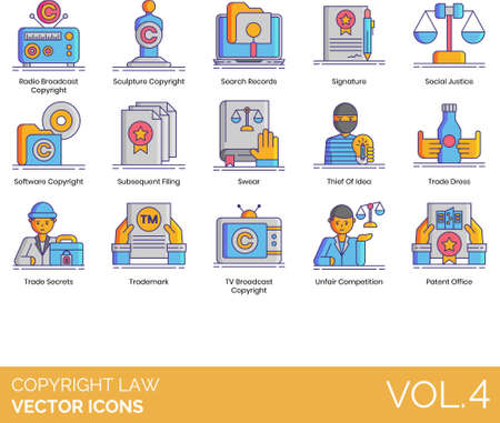 Line icons of copyright and law, social justice, software copyright, trade secrets, TV broadcast