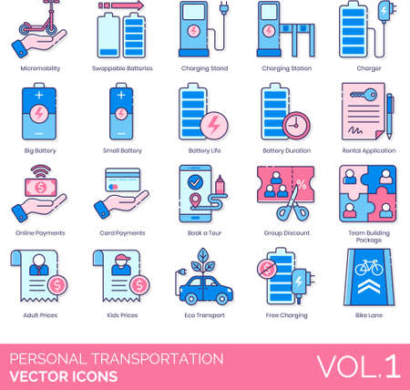 Line icons of personal transportation, rechargeable vehicle, battery, rental application, bike lane