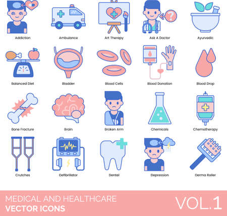 Line icons of medical and healthcare, therapy, treatment, device