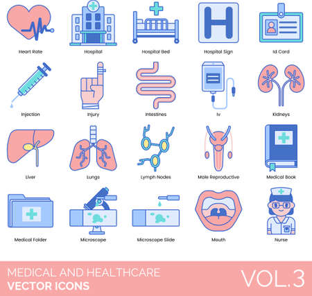 Line icons of medical and healthcare, hospital facilities, human internal organs, equipment, medical record