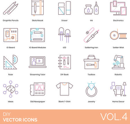 Line icons of DIY equipment and tools, sketching, electronics, idea, home decor Illustration