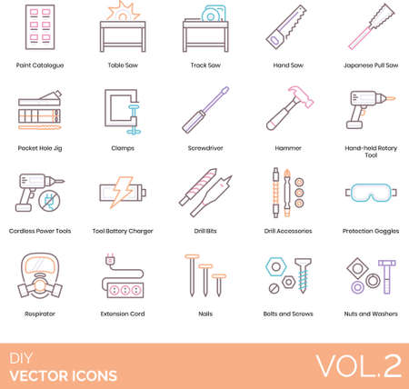 Line icons of DIY equipment and tools, extension cord, toolbox