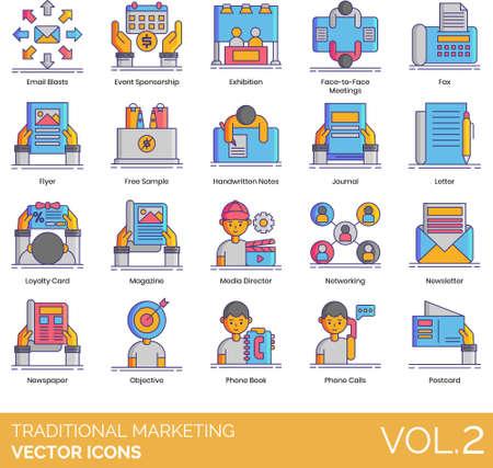 Line icons of traditional marketing, advertising, brand strategy, ATL, BTL Vecteurs