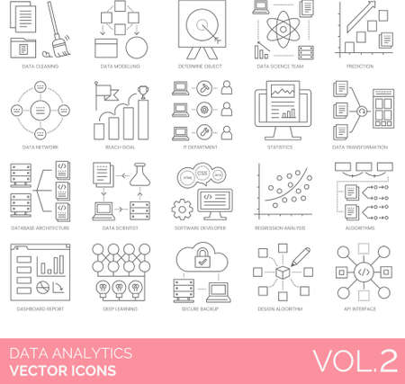 Line icons of data analytics, data science team, dashboard report, algorithms
