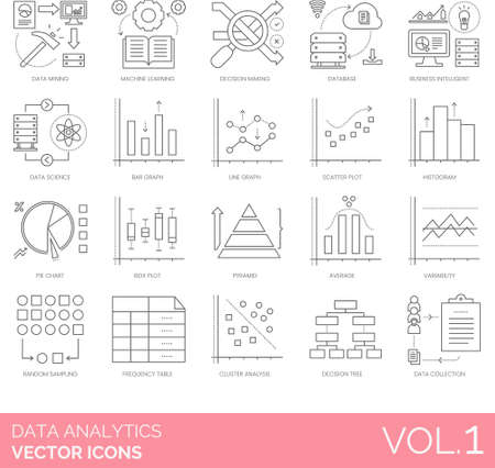 Line icons of data analytics and statistics, infographics, charts and diagram, data collection. Vettoriali