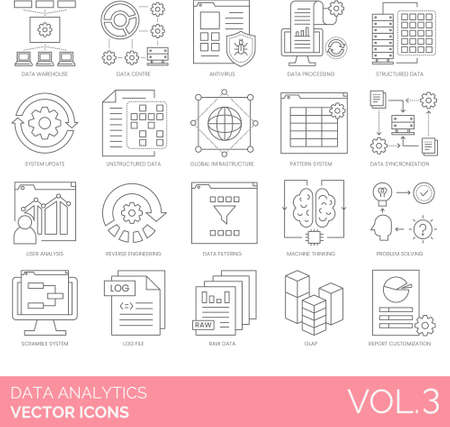 Line icons of data analytics and statistics, data warehouse, pattern system, user analysis, log file, olap