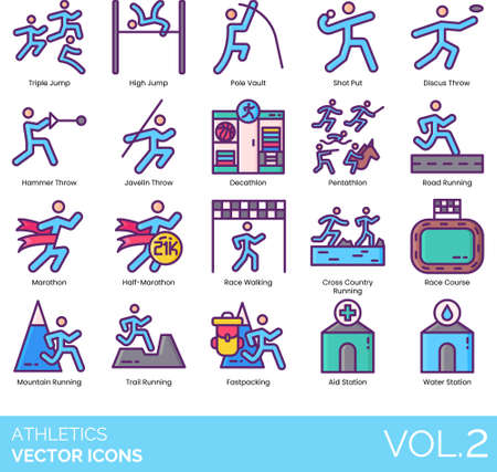 Line icons of athletics, running, jump, throw, race course