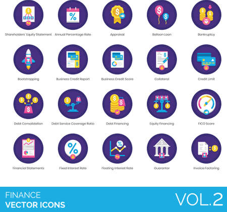 Flat icons of finance and accounting, bankruptcy, FICO score, interest rate