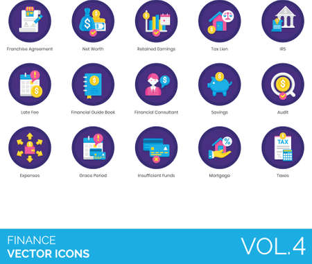 Flat icons of finance and accounting, net worth, financial consultant, audit, grace period, mortgage