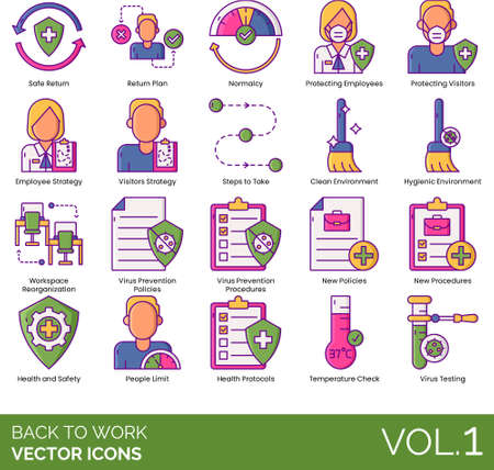 Line icons of back to work, new normal, virus prevention procedures, office health protocols