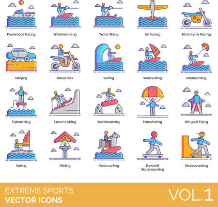 Line icons of extreme sports, racing, water sports, air sports, winter sports