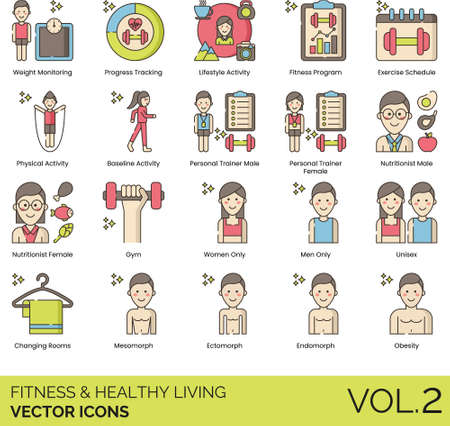 Line icons of fitness and healthy living, fitness program, personal trainer, body type
