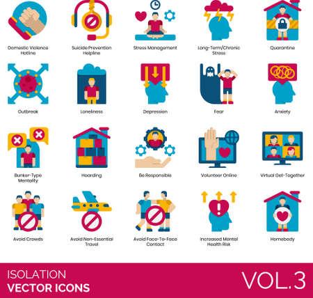 Flat icons of isolation and quarantine, stress management, virus prevention, volunteer online, homebody Ilustração