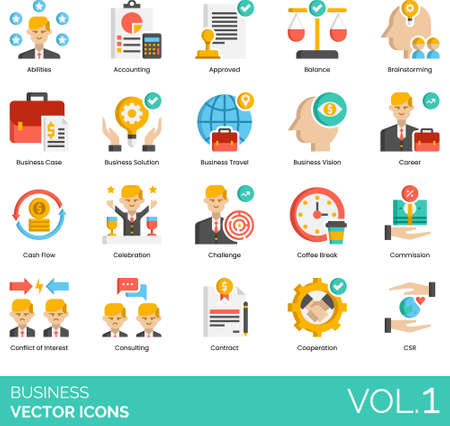 Flat icons of business, accounting, career, conflict of interest, cooperation, CSR