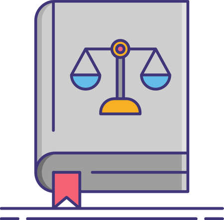 Line vector icon illustration of a book with justice scale sign. Code of conduct concept.