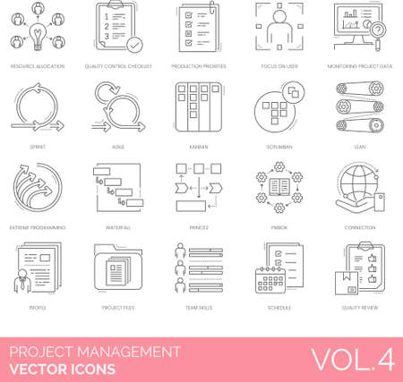 Line icons of project management, quality control checklist, agile methodology, extreme programming, team skills