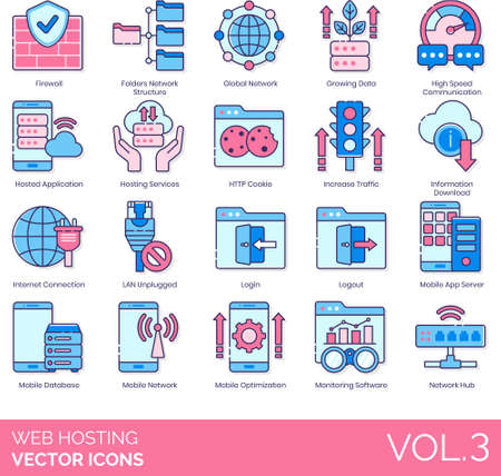 Line icons of web hosting, firewall, global network, internet connection, LAN unplugged, mobile network 矢量图像