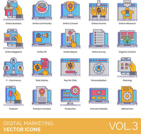 Line vector icons of digital marketing, online contest, organic content, paid articles, promote website