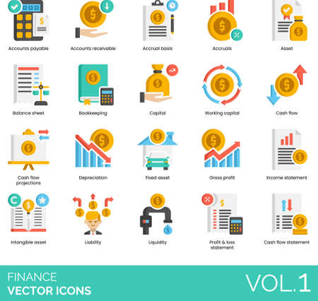 Flat vector icons of finance and accounting, accrual basis, working capital, income statement, liquidity