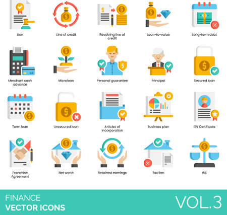 Flat vector icons of finance and accounting, tax lien, microloan, business plan, net worth