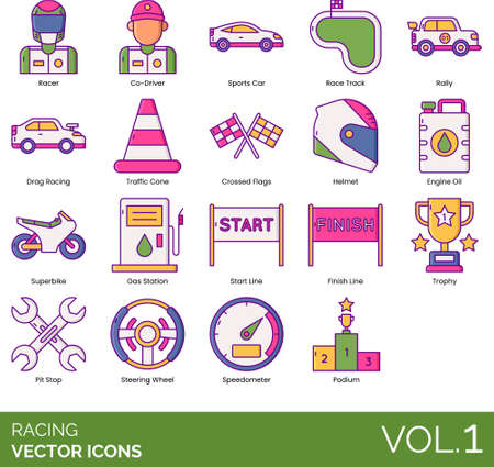 Line icons of racing, sports car, traffic cone, engine oil, pit stop, steering wheel, speedometer