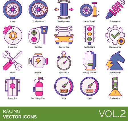 Line icons of racing, tire alignment, suspension, car maintenance, horsepower, racer suit 矢量图像