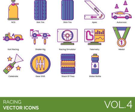 Line icons of racing, stack of tires, kart racing, simulator, telemetry, winning