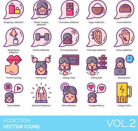 Line icons of addiction types, habit, obsession, plastic surgery, sugar, workaholism, codependency