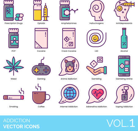 Line icons of addiction types, drugs, alcohol, gambling online, smoking