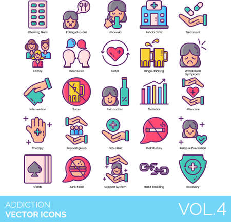 Line icons of addiction types, psychology, treatment, support system, recovery