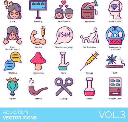 Line icons of addiction types, habit, obsession, lifestyle, psychology, drugs