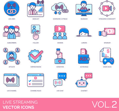 Line icons of live streaming entertainment, community, subscribers, viewers, monetization, channel rules