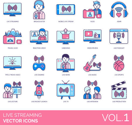 Line icons of live streaming entertainment, vlog, podcast, news, sports, production
