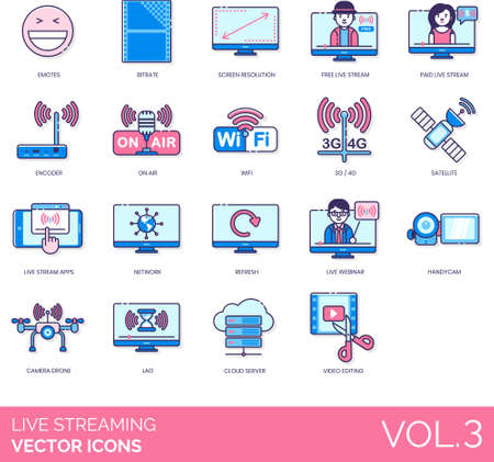 Line icons of live streaming entertainment, technology, network, camera drone, cloud server
