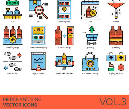 Line icons of merchandising, point of sale, product placement, digital traffic, buying decision 矢量图像