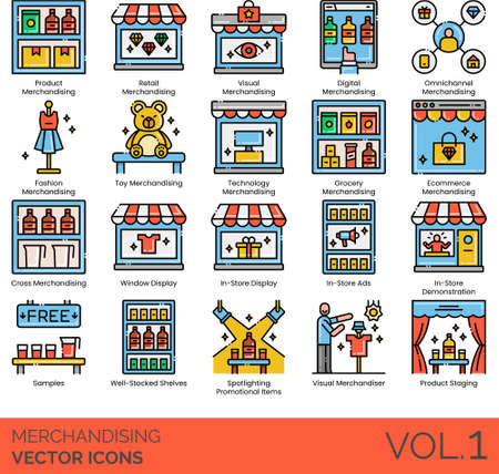 Line icons of merchandising categories, product staging, visual merchandiser, e-commerce