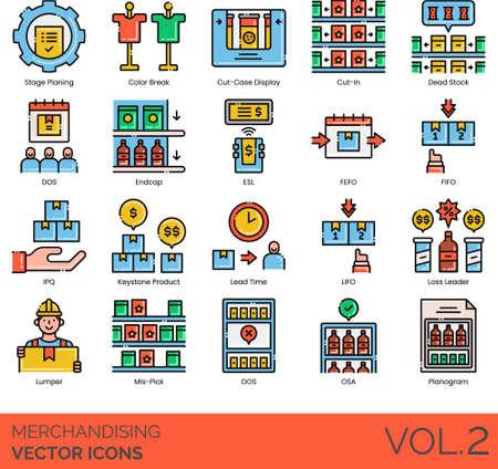 Line icons of merchandising, product display, stage planning, planogram 矢量图像