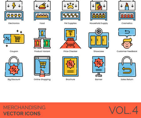 Line icons of merchandising, product display, coupon, customer feedback, online shopping, sales return
