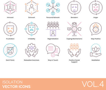 Line icons of isolation and quarantine, psychology, social support, stay in touch, meditation