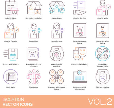 Line icons of isolation during pandemic, quarantine, shop online, emotional wellbeing