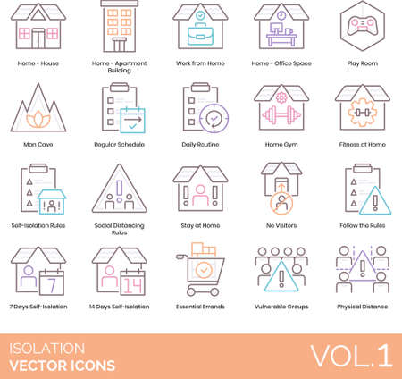 Line icons of isolation during pandemic, home activities, self-isolation rules, physical distance