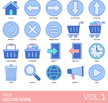 Line icons of web UI, buttons and navigation, online commerce, home, cart, basket, play