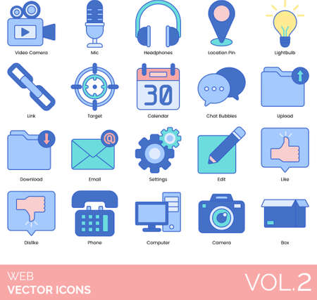 Line icons of web UI, buttons and navigation, media, design, chat bubbles, like, dislike